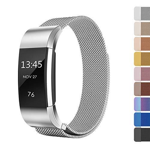 Fundro for Fitbit Charge 2 Armband, Edelstahl Handgelenk Ersatzband Ersatz Armbänder Uhrband Uhrenarmband mit und Metallschließe für Fitbit Charge2 Klein & Groß (A# 1-Pack Silber, S)