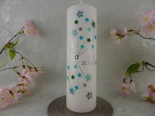 Taufkerze verziert Sterne türkis grün silber Junge Mädchen 250/70 mm inkl. Beschriftung - 2
