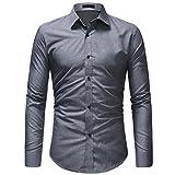 VEMOW Hot Selling Gentleman Herren Herbst Mid-Season Casual Formale Feste Slim Fit Langarm Tages Party Strand Business Kleid Shirt Top Bluse(Grau, EU-54/CN-XL)