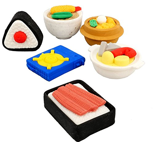 Coi 3D Food Sushii, Stove Set Of Six Erasers For Kids
