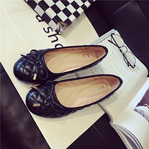 WYMBS 2017 nouveau printemps peu profondes bouche tête ronde chaussures femmes chaussures bow unique chaussures plates talons plats gray