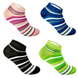 12 Paar L&K-II Damen süße bunte Sneaker Socken Füßlinge Baumwolle mit Ringel Muster 92246 35-38