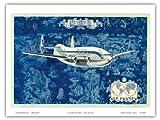 Air France - Provence Breguet Deux-Ponts (Double-Decker) 763 Airliner - Vintage Airline Travel Poster by Lucien Boucher c.1950s - Bon Art Print