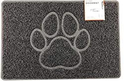 Nicoman PAW Embossed Shape Door Mat Dirt-Trapper Jet-Washable Doormat-(for Indoor or Sheltered Outdoor)- (60x40cm/23.6x15.7inches, Small) BLACK