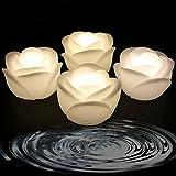 Schwimmende Kerzen des Wachs-LED - Wachs-wasserdichte Kerze Teelicht Flammenloses batteriebetriebenes Schwimmen auf schwimmenden Kerzen des Wasser-LED für Hochzeit, Restaurant-Dekoration u. Kerzenlicht-Abendessen (Rose - Warmweiß)