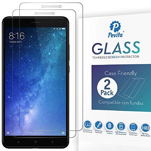Pevita Protector de Pantalla para Xiaomi Mi MAX 2. [2 Packs]. Dureza 9H, Sin Burbujas, Fácil Instalación. Protector de Pantalla de Cristal Templado Premium para Xiaomi Mi MAX 2