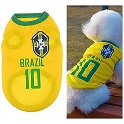 Ropa para Perros Pequeños, Jersey Chaleco Deportes Suave Transpirable del Perros Gatos Cachorros Camisa del Animal Doméstico de Fútbol Copa del Mundo para Verano Al Aire Libre -Brazil,M