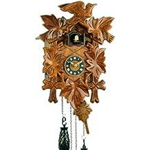 Reloj De Cuco de madera en la selva negra con batteriebetriebenem quartzwerk con cuco y música de llamada de parte–de relojes de Park Eble–Eble–Cinco hojas de 30cm