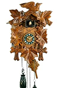 'Uhren-Park Eble' - Black Forest Cuckoo Clock - 5 Carved Leaves - Battery Operated Quartz Movement - Cuckoo Chime - 12 Different Melodies - 30 Centimeters