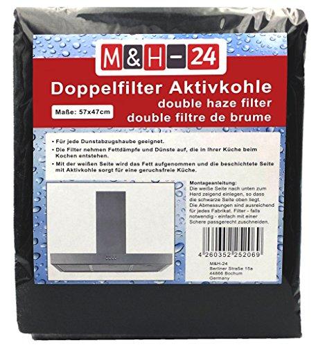 M&H-24 Filter Dunstabzugshaube Aktivkohle zuschneidbar - Aktiv-Kohlefilter für Abzugshaube Dunstabzug 60cm Dunstfilter Universal 57 x 47 cm Schwarz -