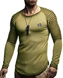 LEIF NELSON Herren Pullover Longsleeve Hoodie Sweatshirt Basic Rundhals Gesteppter Langarm Biker Shirt Hoody Sweater LN8175