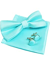 Solid Pre-tied Bow Tie Cufflinks Hanky Set for Men Neck Wear, Turquoise