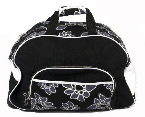 Preisvergleich Produktbild Little Company PF17.07 - Trolly Wickelreisetasche, Power Flower Trolly, Farbe: schwarz und Blumendruck schwarz / weiss (black print black white)