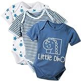 Baby Butt Body 3er-Pack mit Druckmotiv Herz Interlock-Jersey blau Größe 74 / 80 thumbnail