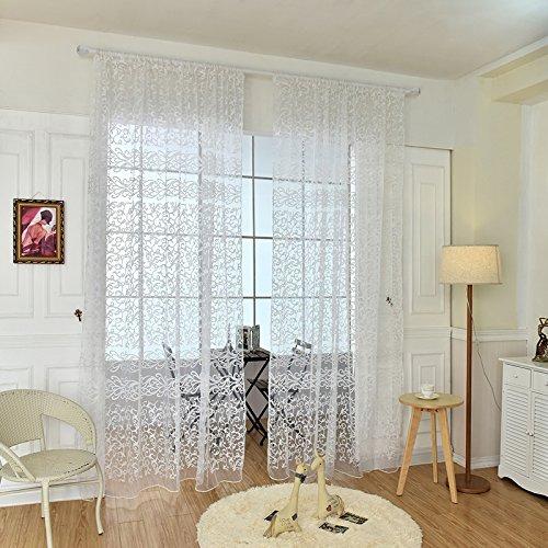 QHGstore Fresh floreale pannello drappeggio in tulle voile porta finestra tenda pura mantovane sciarpa, contiene solo la finestra di screening, che non includono le tende bianca