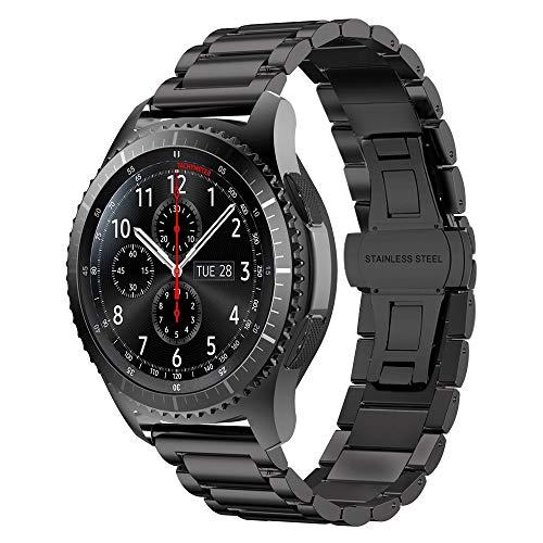 Gear S3 Frontier Bracelet Métal, iBazal Gear S3 Classic Bracelet 22mm Watch Band Acier pour Samsung Gear S3 Frontier/Classic SM-R760, Samsung Galaxy Watch 46mm [Style Classique] - Boucle Papillon Noir