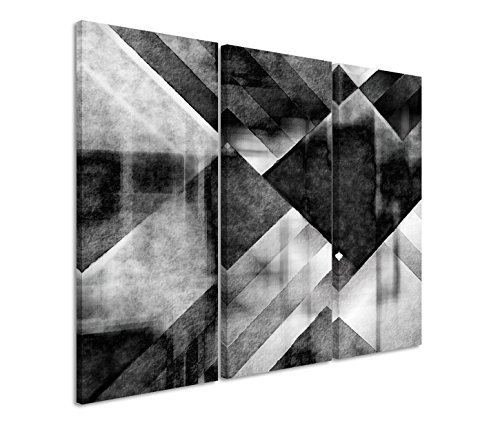 Kunstdruck auf Leinwand 3 teilig je 40x90cm Bild – Graue Farbkomposition