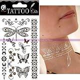 Tattoo flüchtig Chic Gold Silber, Schmetterlinge, Brett–Juwelen für: 15,5x 9,5cm