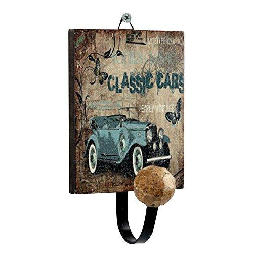 Forepin® Retro Europea Modello Jeep Classico Appendiabiti Supporto Gancio a Muro Parete Hanger per Vestiti, Cappotto, Tovagliolo, Accappatoio Porta Hanger - Disegno Vintage 2 - Legno Bambino Hanger