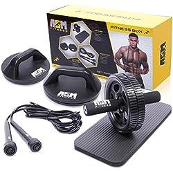 ASM Fitness Box - Rodillo para abdominales con almohadilla para la rodilla, barra de flexiones rotativas, empuja hacia arriba el soporte, cuerda de saltar. Juego de gimnasio en casa premium.
