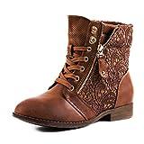 Damen Stiefel Stiefeletten Worker Boots Spitze Lederoptik Camel 41 (Textilien)