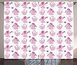 ABAKUHAUS Angelo Tenda, Cigni di Amore Luna di Miele, Lavabile in Lavatrice Due Pannelli Set, 280 x 260 cm, Fucsia Baby Pink