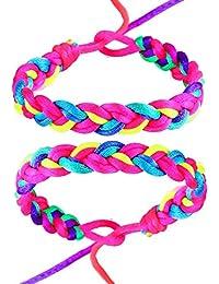 DonDon 2 bunte Damen und Mädchen Freundschaftsarmbänder Neonfarben Regenbogen - Modellauswahl
