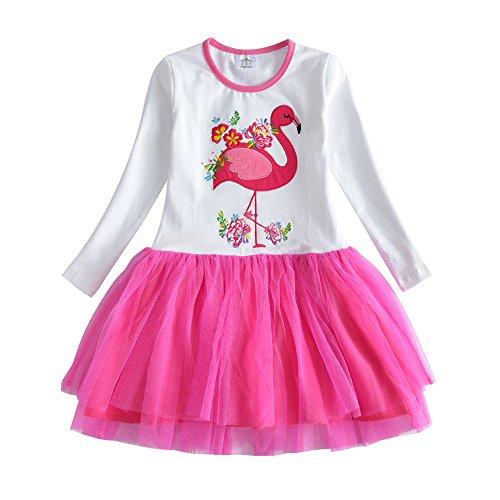 VIKITA Mädchen Kleid Baumwolle Stickerei Schmetterling Tulle Prinzessin Tutu LH4558 7T