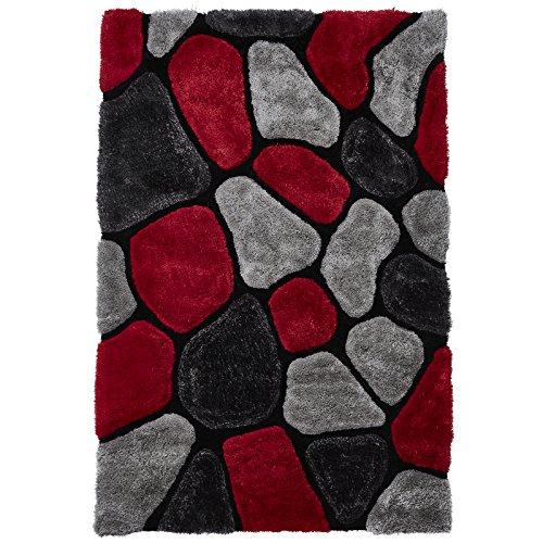 HomeLinenStore Design-Stil Multi Texturierte 3D Effekt handgetuftet Shaggy Teppich mit 3verschiedenen Größen in grau/rot Farbe, Grey/Red, 120 x 170 cm (Zeitgenössische Pflaume Teppich)