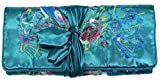 Teal Blue Embroidered Floral Silk Make Up Bag/ Wrap /Jewellery Roll