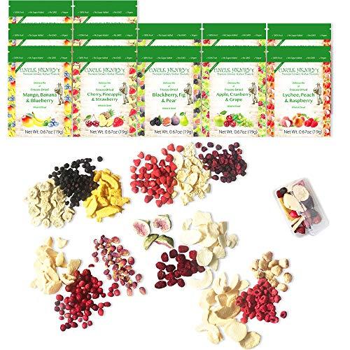 """Gefriergetrocknete Früchte: 15 Getrocknete, Köstliche Früchte Erdbeere, Blaubeere, Himbeere & Mehr. 226 Gramm, 12 Große Tüten: die Ultimative Trockenobst Snack Box \""""Sie Werden es Lieben\"""""""