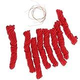 B Baosity 8 Stück Baumwollschnur Wachsband für Halskette, Makramee Armband Schnur 1.2mm - rot