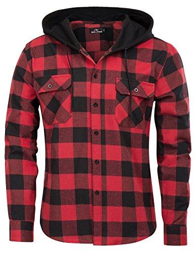 Paul Jones Herren Stilvolle & Slim Fit Lässige Grid Pattern Langarm Hemd mit Kapuze Tops X-Large Rot schwarz -
