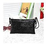 Elistelle Umhängetasche Damen Schwarz Klein Handtasche Satchel Messenger Karo Pattern Shopper Blog Purse Tasche