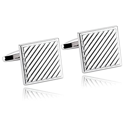 AMDXD Bijoux en acier inoxydable Boutons de manchette pour homme Bandes Argent Boutons de manchette carré 1.6x 1.6cm