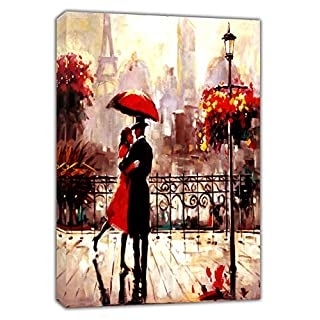 Couple with RED Umbrella Under RAIN in Paris Vertical Oil Paint Reprint ON Framed Canvas Picture Wall Art Home Decoration Ready to Hang 30'' x 24'' inch(76x 60 cm)-38mm Depth
