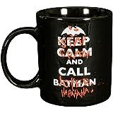 "Batman 0122041 - Tasse ""Keep Calm and Call Stay Crazy and Call Joker"", Porzellan, Keramik, schwarz, circa 300 ml, 12 x 7,5 x 9,30 cm"