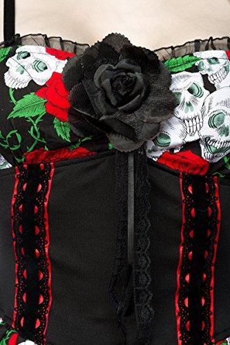 JU FASHION - Robe - Multicolore - Femme Noir - Schwarz-Rot-Weiss