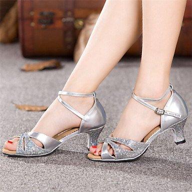 Dance Shoes Quietness Ruhe @ Damen Tanzschuhe Latin Patent Leder Chunky Ferse blau/rot/Silber/Gold, rot - 3