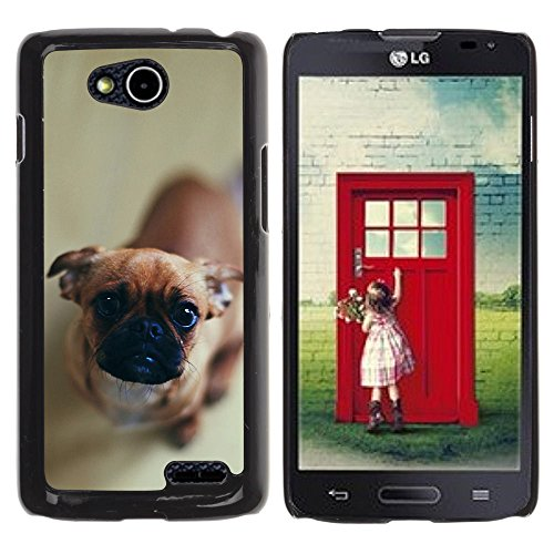DREAMCASE Hart Handy SchutzHülle Hülle Schale Case Cover Etui für LG OPTIMUS L90 D415 - Cute Curious Dog