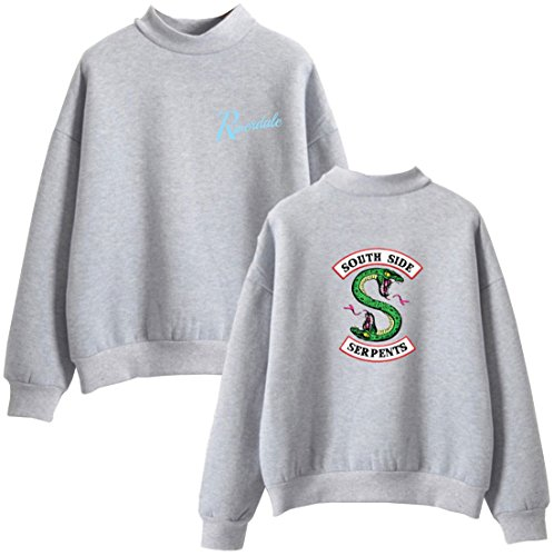 OLIPHEE Unisex Sweatshirt Rollkragenpulli mit Riverdale Southside Serpents Mustern für Damen Herren Grau 4822 2XS