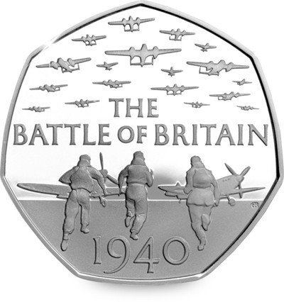 Royal Mint 2015 75th Anniversary of the Battle of Britain UK 50p Uncirculated Out of Royal Mint Sealed Bag