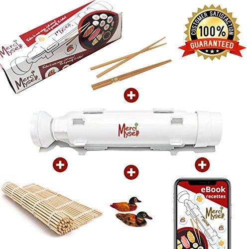Appareil à sushis et makis Merci Myself - Sushi Bazooka - Kit sushi maker avec EBOOK recettes + 2 paires de baguettes + support + Natte à sushi en bambou