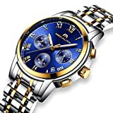 Best Chronograph Watches - Mens Waterproof Luminous Date Watch, Gold Case Roman Review