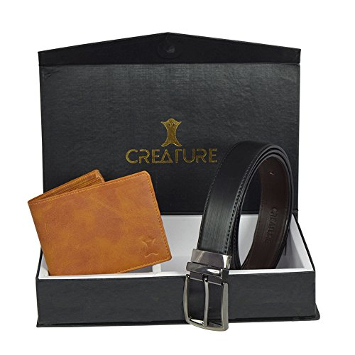 Creature Classic Pu-Leather Wallet For Men And Reversible Pu-Leather Formal Belts For Men Combo(BL-06 F-03)