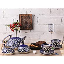 Teaset Ceramic/Stoneware in Blue Mughal (Kettle, Sugar & milk container, cups with saucer) (Set of 15 piece) Handmade By Caffeine