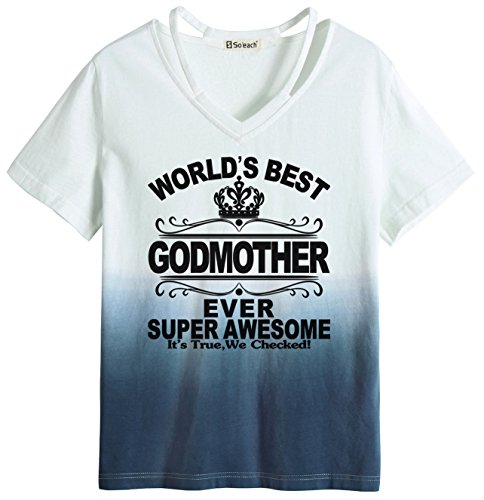 Dip-dyed-t-shirt (So'each Women's World's Best Godmother Ever Dip-Dyed Tee Hollow T-Shirt Casual Top)