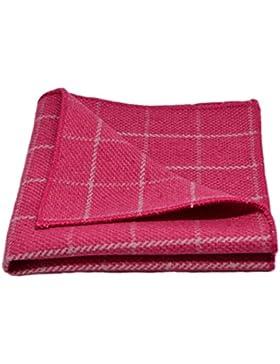 Fazzoletto da taschino rosa fucsia a quadri in tessuto con disegno a occhio di pernice, Pochette
