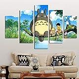 ZEMER Impression sur Toile Mur Art Affiche 5 Pièces / 5 Panneau Mur Décor Miyazaki Hayao Totoro Peinture Home Decor Photos,A,L