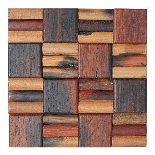 ZHANWEI Altes Schiffsholz Mosaik 3D Wandpaneele Tapete Quadrat Bogen Holz Netzboden Wandaufkleber (Color : 5 PCS, Size : 300x300mm) -